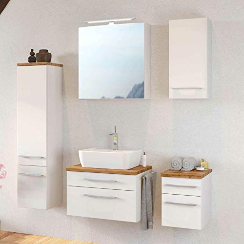 *Lomadox Badmöbel Set 60cm matt weiß Waschtisch-Unterschrank inkl. Aufsatzwaschbecken LED-Spiegelschrank*