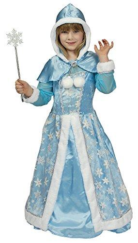 Schneekönigin Kostüm für Mädchen Gr. 116 128 - Hochwertiges Kinderkostüm für Theater, Karneval oder Mottoparty - Eisprinzessin, Eiskönigin (Schneekönigin Kostüm)