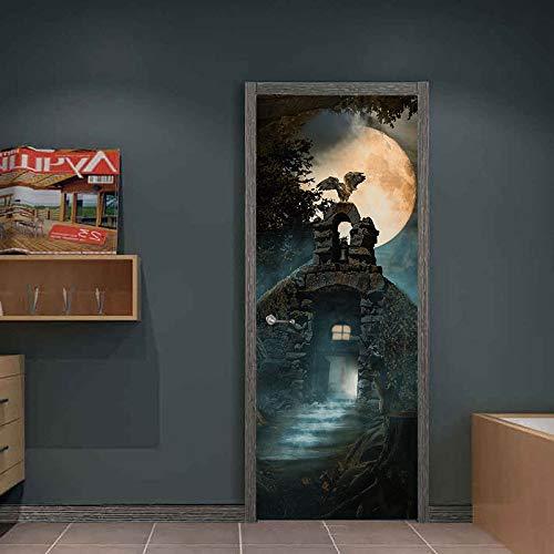Halloween Mond Eule Kreative 3D Tür Aufkleber 38,5 * 200 cm * 2 Stücke Persönlichkeit Holz Tür Dekoration Selbstklebende Renoviert Wandaufkleber Mt004 (Nacht Eule 2 Kostüm)