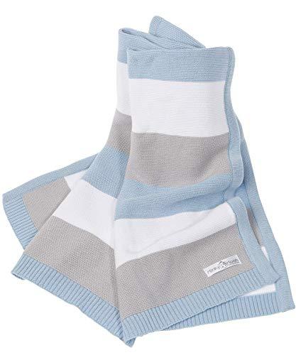 Babydecke aus 100% Bio Baumwolle - kuschelige Strickdecke ideal als Baby Decke, Erstlingsdecke, Wolldecke oder Baby Kuscheldecke in blau/grau/weiß für Jungen (Unterlage Bio-baumwolle)