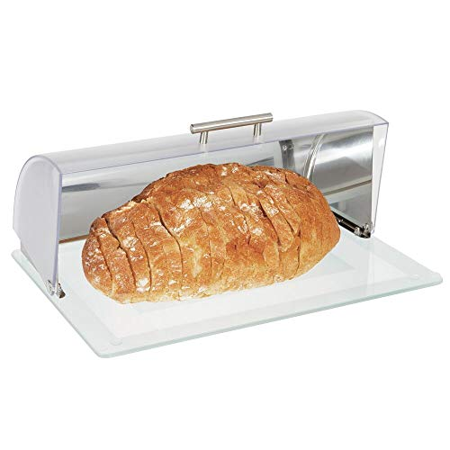 mDesign Brotkasten aus Metall und Glas - Brotbox mit Deckel aus Kunststoff zum luftdichten Verschließen - stilvolle Brotaufbewahrung mit Sichtfenster - mattsilberfarben