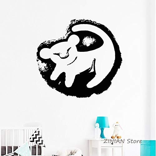 guijiumai König der Löwen Baby Wandtattoo Vinyl Aufkleber Kinderzimmer Abnehmbare Mädchen Jungen Kinderzimmer Wandaufkleber Cartoon Wohnkultur Wandbild weiß 56X61 cm