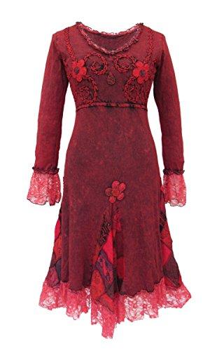 (Dark Dreams Gothic Witchy Pagan Elfe Goa Psy Ethno Nepal Kleid bestickt Spitze Fairydae Witchy Dress S M L XL XXL, Farbe:rot, Größe:XXL)