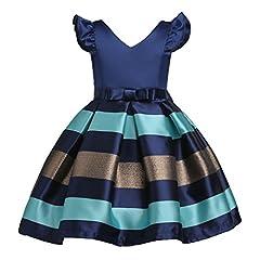 Idea Regalo - YuanDian Bambine Senza Maniche Principessa Abiti Eleganti Bambina Partito Compleanno Comunione Swing Vestiti Da Cerimonia 3-10 Anni Blu Scuro 140#