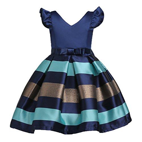 YuanDian Bambine Senza Maniche Principessa Abiti Eleganti Bambina Partito Compleanno Comunione Swing Vestiti Da Cerimonia 3-10 Anni Blu Scuro 130#