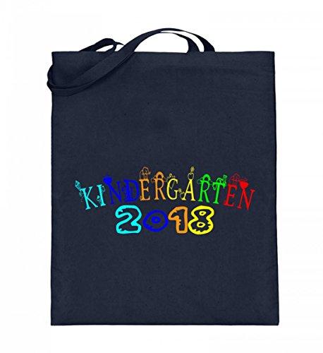Hochwertiger Jutebeutel (mit langen Henkeln) - Kindergarten Geschenkidee, Kita Anfänger, Kindergarten 2018, Kinder T-Shirt Deep Blue