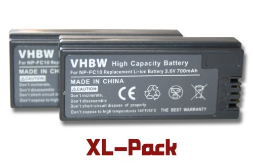 2 x vhbw Akku Set 700mAh für Kamera Sony DSC-F77, DSC-FX77, DSC-P (Cyber-Shot Point & Shoot) Serie wie NP-FC10, NP-FC11 Cyber-shot Point