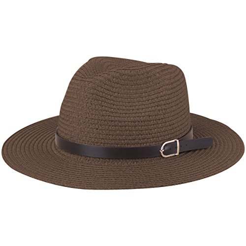 YOPINDO Sombrero de Paja Estilo Fedora de Panamá Sombrero de ala de ala  Ancha Plegable Unisex 42d26189c86