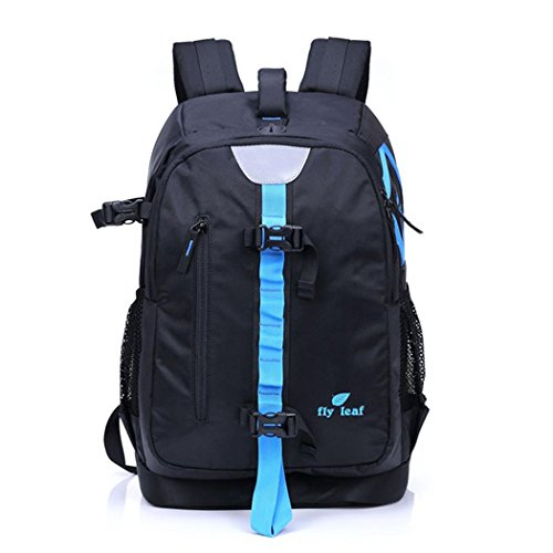 Travel Camera Backpack Outdoor Multifunctional Waterproof Nylon Photography Rucksack with Rain Cover Used to Carry Equipment, Clothing , Tools, Laptop, for Camping Hiking H45 x L19 x T30 CM , Black Blue (Womens Burton Clothing)