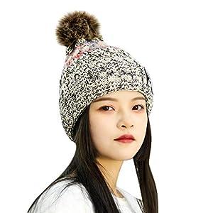 TIREOW Mode Frauen Mädchen Wintermütze Strickmütze Winter Warm Verdicken Wollmütze Streifen Stricken Winddicht Kappe Ski Mütze mit Haarball