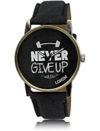 Xurious Enterprise Round Dial Analogue Black Dial Black Leather Strape Fashion Wrist Watch For Men & Boys | XE_LR...
