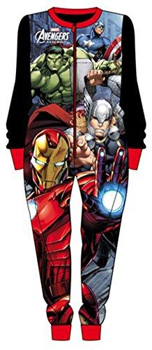 Bambini con pile invernale pigiama pigiama Marvel Avengers Iron Man, Hulk, Thor, Captain America, Blue Età 2-3