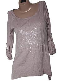 ITALY - Star Damen Shirt Longsleeve mit Stern-Motiv Pailletten Used Look One Size 36-40