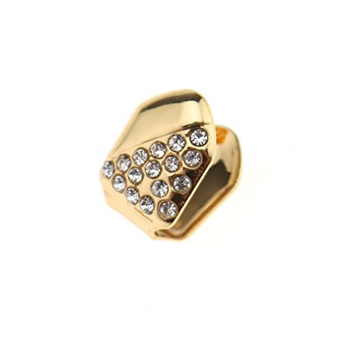Emma Single Cap Grill 24k Gold Plated Diamante Half Iced-Out Slug Bling Tooth Grillz