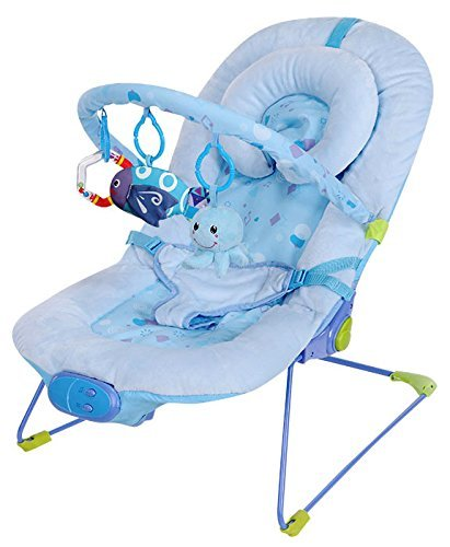 Silla mecedora de lujo reclinable, vibradora y musical para bebé, Con soporte para la cabeza azul