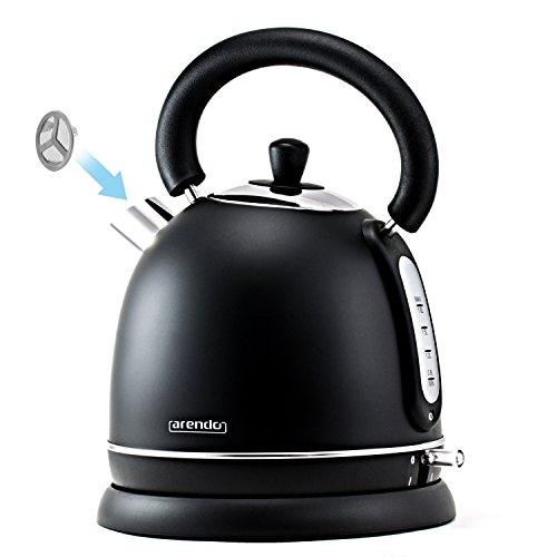 Arendo – 3000 Watt Retro Edelstahl Wasserkocher / Teekessel | 3000 Watt Leistungsaufnahme (Schnellkoch-Wasserkocher) | integrierter Kalkfilter rausnehmbar | Füllmenge maximal 1,8 Liter | automatische Abschaltung | in Schwarz - 3