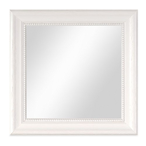 PHOTOLINI Wand-Spiegel 26x26 cm im Holzrahmen Landhaus-Stil Weiss Quadratisch/Spiegelfläche 20x20...