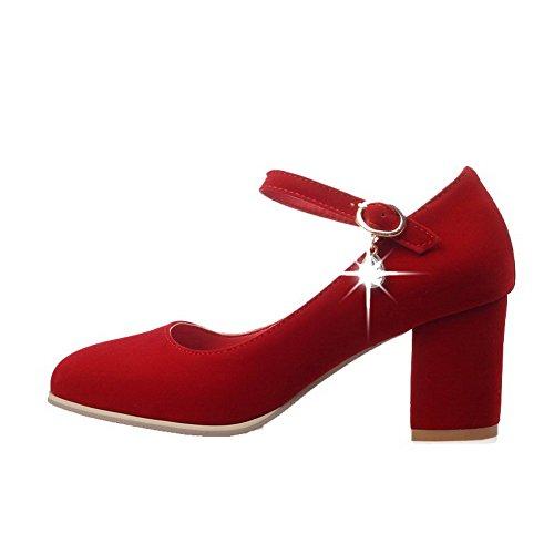 VogueZone009 Femme Boucle Carré à Talon Correct Suédé Couleur Unie Chaussures Légeres Rouge