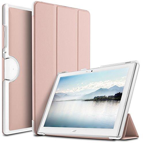 IVSO Acer Iconia One 10 (B3-A40) Hülle, Ultra Schlank Ständer Slim Leder zubehör Schutzhülle perfekt geeignet für Acer Iconia One 10 B3-A40 2017 Tablet PC, RoseGold
