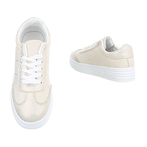 Sneakers Ital-design Basse Sneakers Da Donna Sneakers Basse Lacci Scarpe Casual Beige Oro R-223