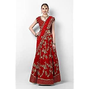Pushp Paridhan Wedding Wear Zardosi with hand work Ethnic Wear Hot Red Velvet Bridal Lahenga For Women/Girls