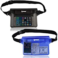 ipow Waterproof Pouch Bag Case with Adjustable Waist Strap [2 Pack] Transparent Screen Touchable for Beach, Swimming, Boating, Fishing, Hiking - Keep Your Phone and Valuables Safe and Dry