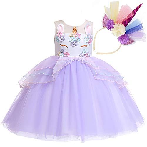 NNDOLL Mädchen Einhorn Rüschen Blumen Cosplay Partykleid Brautkleid Prinzessin lila 150 8 9 Jahre
