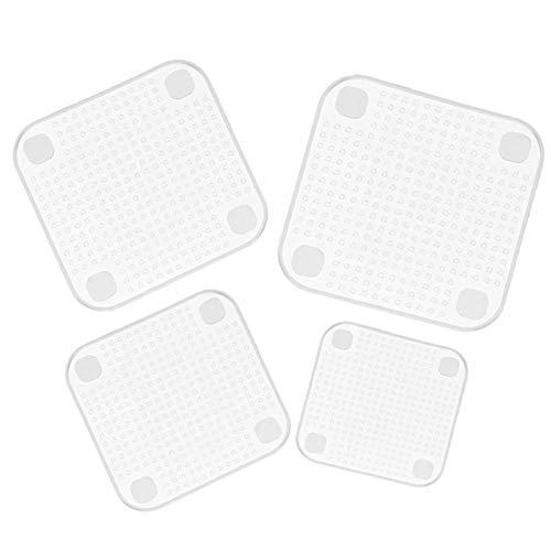 H&RB 4Pcs Silikon-Schüssel Deckt Lebensmittel Frischhaltung Wickeln Wiederverwendbare Silikon-Wrap-Siegel Deckel Cover Stretch Vakuum Lebensmittel Wickel Küche Acc,White,3Sizes