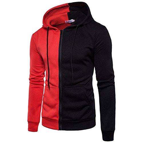 Mantel Sport Mann (Sport Tops Herren,DAY.LIN Männer Lange Ärmel Kapuzenpullover Stitching Reißverschluss Mantel Jacke Outwear (L, Rot))