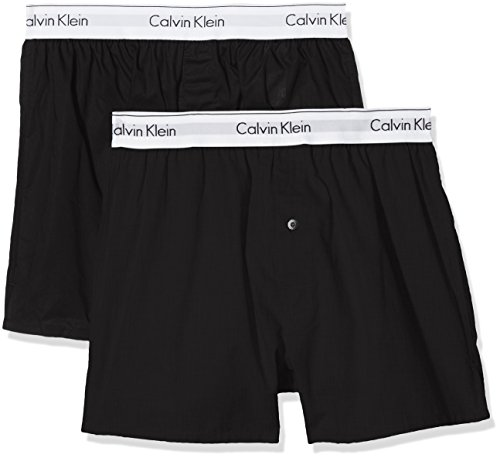 Calvin Klein Herren Hüft-Shorts 2P Slim Fit Boxer, Schwarz (Black/Black 001), X-Large (Shorts Ausgestattet Boxer)