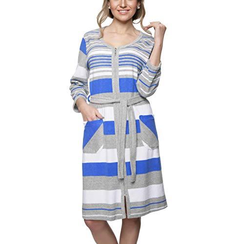 Aquarti Damen Morgenmantel mit Reißverschluss Streifen, Farbe: Blau, Größe: 2XL
