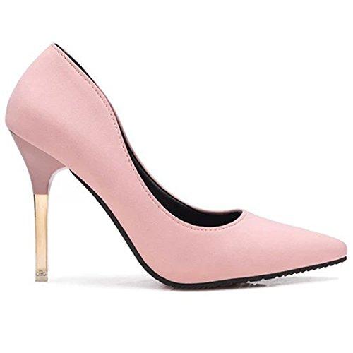 Oasap Women's Low Cut Pointed Toe Slip-on Stiletto Club Pumps Grey