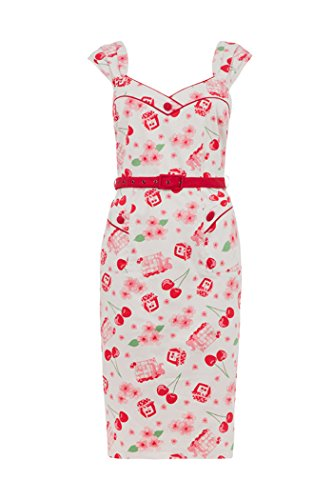Voodoo Vixen ANNE Vintage CHERRY Kirschen Wiggle Dress Kleid Rockabilly -