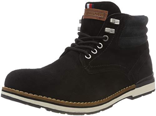 Tommy Hilfiger Herren Outdoor Suede Combat Boots, Schwarz (Black 990), 44 EU