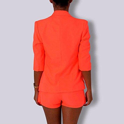 Donna Casuale Slim Fit Giacca Giacche Da Abito E Blazer Cappotto Giubbotto Tailleur Orange