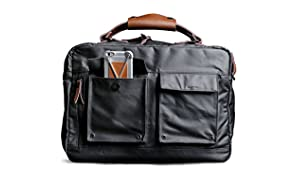 Scarters Premium Canvas & Splash-Proof The Informal ~ Charcoal Black Laptop Messenger Bag for up to a 15.6 inch Laptop/MacBook