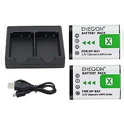 NP-BX1 ENEGON Batterie de Rechange (2 Paquets) et Chargeur Double Rapide pour Sony NP-BX1,NP-BX1/M8 et Sony Cyber-Shot DSC-RX100,DSC-RX100 II,DSC-RX100M II,DSC-RX100 IV,DSC-RX100 VI…