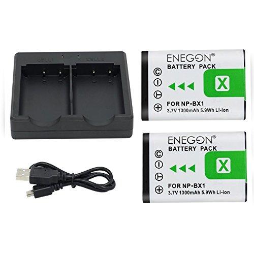 NP-BX1 ENEGON Batterie de Rechange (2 Paquets) et Chargeur Double Rapide pour Sony NP-BX1 et Sony Cyber-Shot DSC-RX100, DSC-RX100 II, DSC-RX100M II (Ne Convient aux RX100 M4/M5/M6/M7/Ⅳ/Ⅴ/Ⅵ/Ⅶ/VA)
