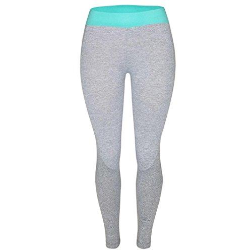 Pantalon de Sport ❤ Femmes leggings Fitness Yoga Pantalons athlétiques ❤ Pantalon Épissage Femmes sport gym yoga Workout taille haute pantalon Running fitness leggings élastiques blue