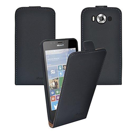 iprotect Microsoft Lumia 950 XL Kunstleder Flip Case Schutzhülle Schwarz