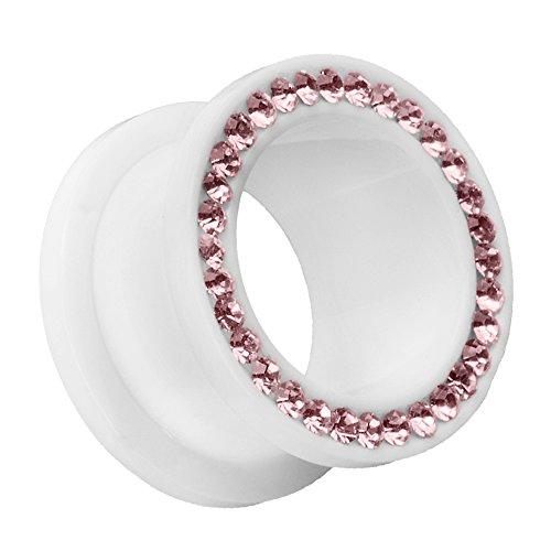 Piersando Flesh Tunnel Ohr Plug Piercing Ohrpiercing Schraub Ohrtunnel Kunststoff mit Strass Kristallen Weiß Lila 12mm -