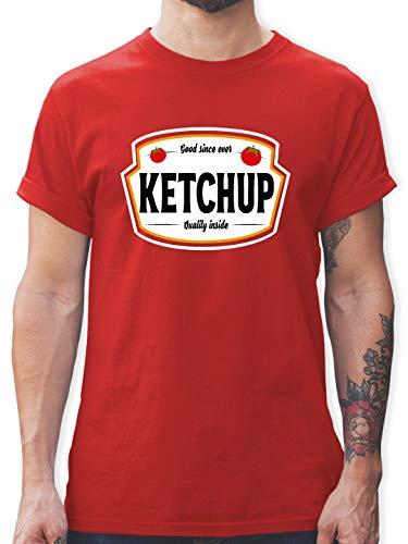 Kostüm Ketchup Tomaten - Karneval & Fasching - Ketchup Kostüm Karneval Fasching - L - Rot - L190 - Herren T-Shirt und Männer Tshirt