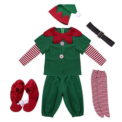 Agoky Mädchen Weihnachtskostüm Jungen Weihnachtself Kostüm Weinachten Outfit Kleidung Set Langarm Top Hut Gürtel Strumpfhosen Party Cosplay Fasching Verkleidung Grün Jungen 98-104