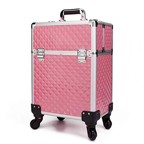 Qzny custodia cosmetica, trolley professionale in alluminio trucco new beauty salon cassetta degli attrezzi custodia portatile multistrato con serratura (colore : c, dimensione : 34 * 24 * 52cm)