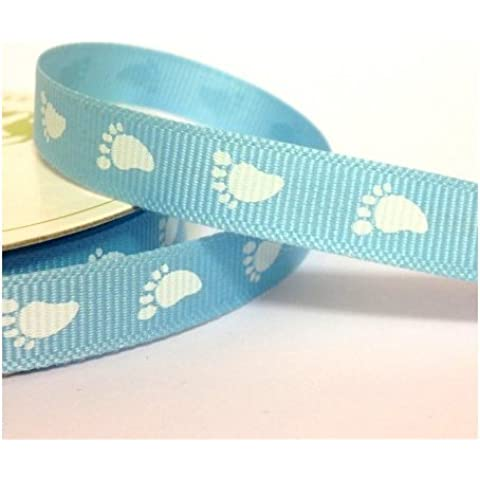 Blue Baby Feet Grosgrain Ribbon With White Foot Print. 4M x 10mm. New Baby Boy Ribbon. For Gift Wrapping, Card Making, Crafts and Scrapbooking. by The Little Button Shop