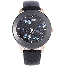 Leopard Shop GUOU 8026 Women Quartz Watch 3ATM Hollow-out Pointer Wristwatch Artificial Rhinestone Solid Dial Black