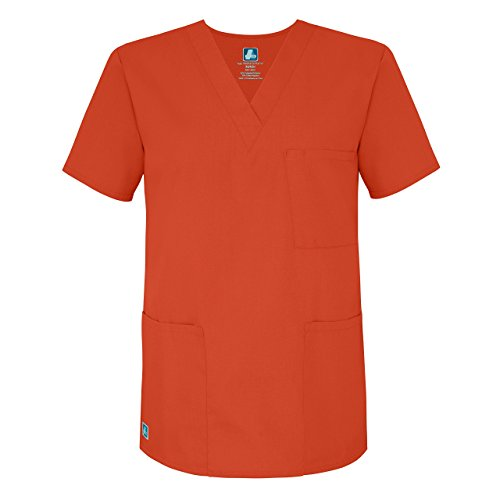 adar-universal-unisex-v-neck-tunic-3-pocket-scrub-top-601-mandarin-orange-xl