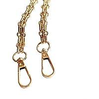 Leana Collection 1pcs Cadena plana mango Reemplazo Metal para bolso DIY hombro bandolera bolsita tuercas Mode, dorado, 120 cm
