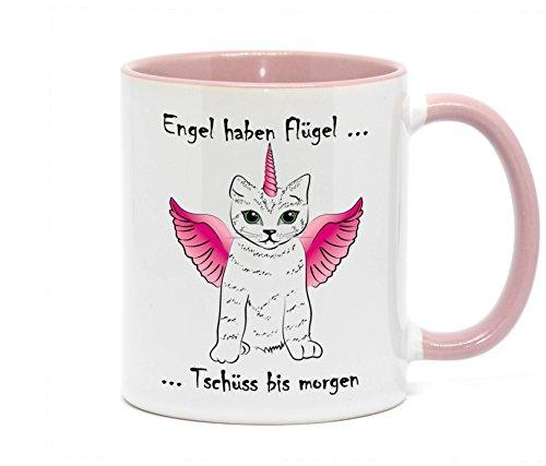 (Nice-Presents Tasse Engel haben Flügel mit Katze im Einhorn Kostüm in hochwertiger Qualität für jeden Katzenliebhaber. Da freut Sich jeder Freund, Nachbar, Kollege, Chef, oder Freundin (Rosa))