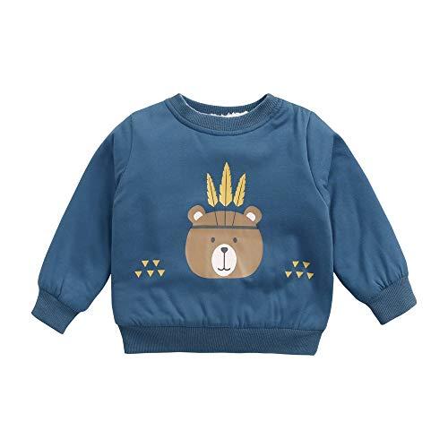 Sanlutoz Dessin animé Bébé Garçons Pulls molletonnés Épaissir Bambin vêtements Manche Longue des Gamins Tops (12-18 mois/80cm, KTW8181-BL)